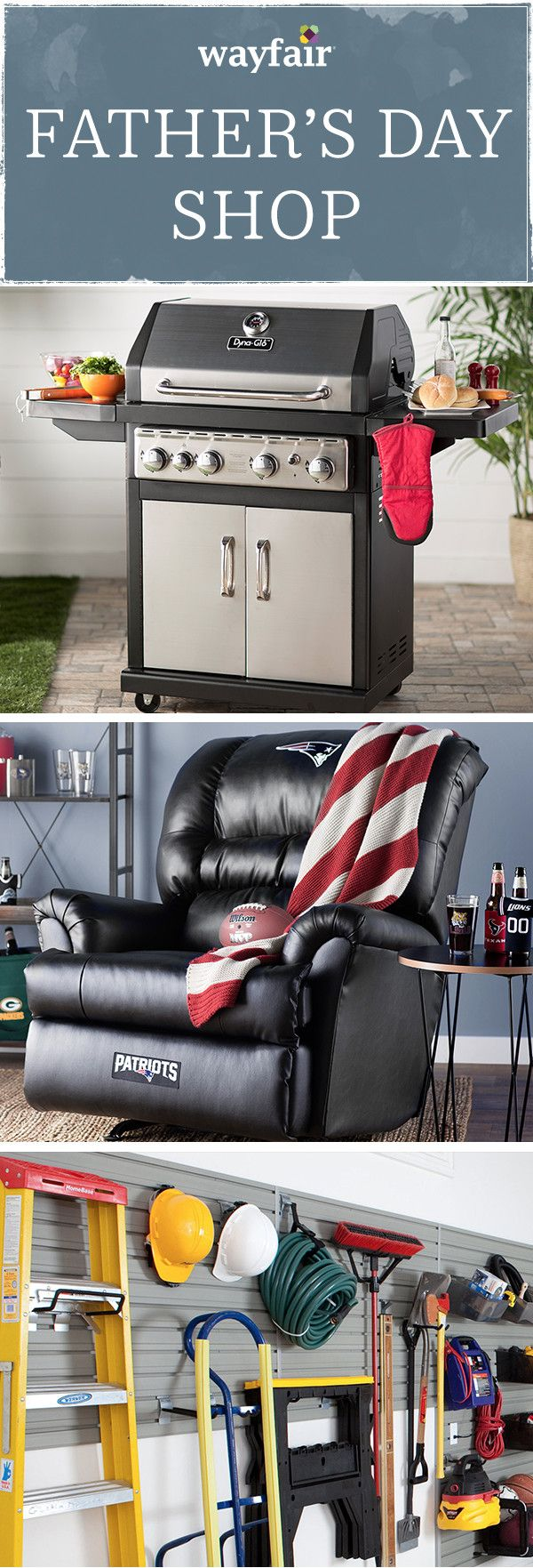Father's Day is just around the corner, so Wayfair has put together a ton of great sales for anyone shopping for Father's Day gifts. If you have sports fans in the family, grab a bean bag chair or BBQ brand with their favorite team logo. Now is a great time to take advantage of our discounts and browse gifts for dads with any interest! Shop Wayfair today for exclusive deals up to 70% off. Free shipping on all orders over $49.