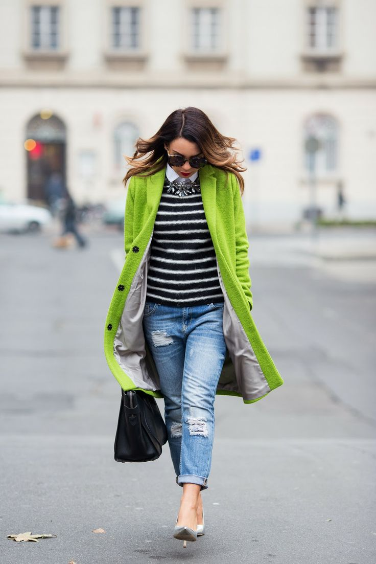Cashmere in Style : Lime Green & Stripes