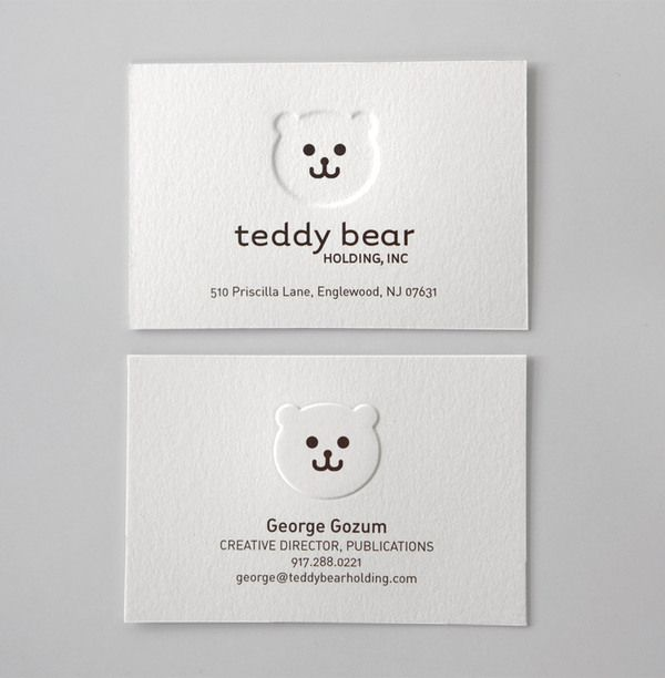 carddsgn | Teddy Bear Holding - use precise blind embossing to get the rounded softness of the logo mark across in the final business cards.