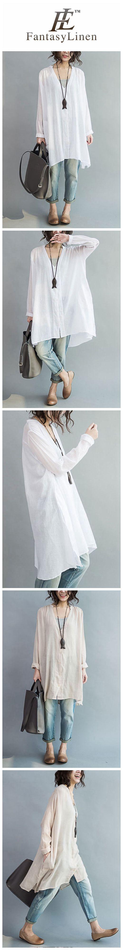 Art Casual Loose Long V-neck Cotton Shirt Women Clothes
