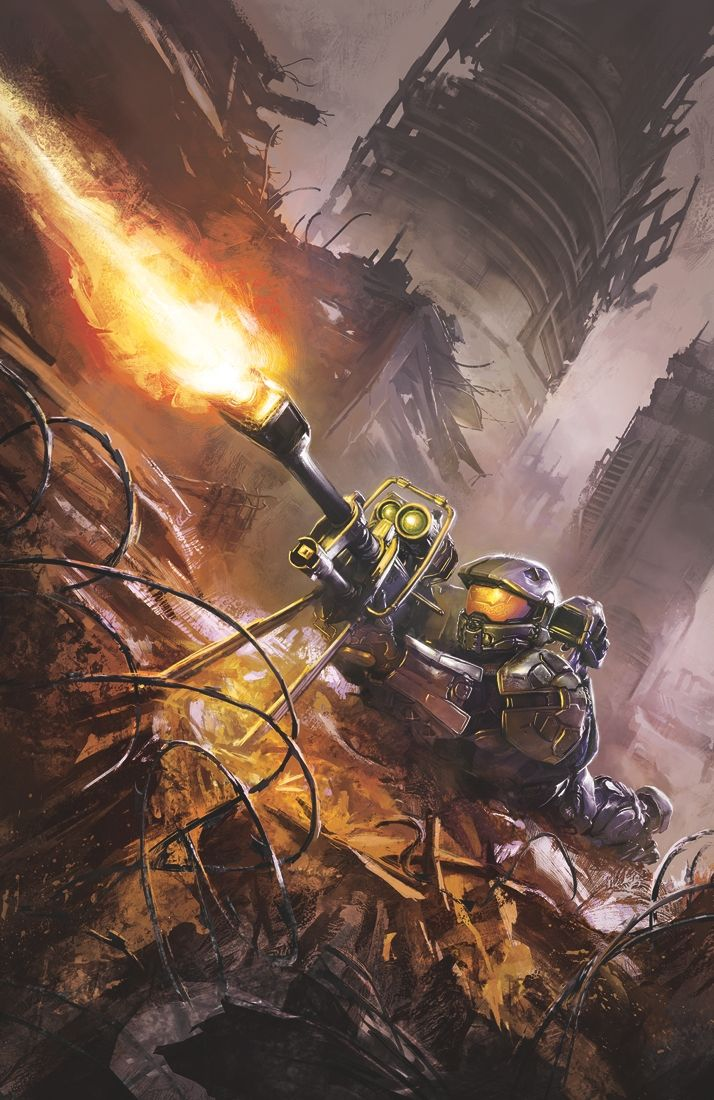 """Halo: Escalation #8  Brian Reed (W), Sergio Ariño(P), Juan Castro(I), Michael Atiyeh(C), and Anthony Palumbo(Cover)  On sale July 23 FC, 32 pages $3.99 Ongoing  The Master Chief returns in """"The Next 72 Hours: Part 1""""! After defeating the Didact, John-117 joined the crew of Infinity . . . but why did he leave? The mystery begins here. Halo® lead writer Brian Reed (Amazing Spider-Man, Ms. Marvel) reveals the secret events that immediately follow the end of Halo 4."""