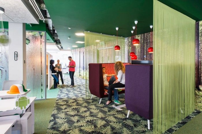 Featured, Awesome Google Office Cabin With Unique Green Dividers For Private Chatting Zone With Egg Chairs And Stylish Table ~ Stunning Updated Office in Uplifting Design