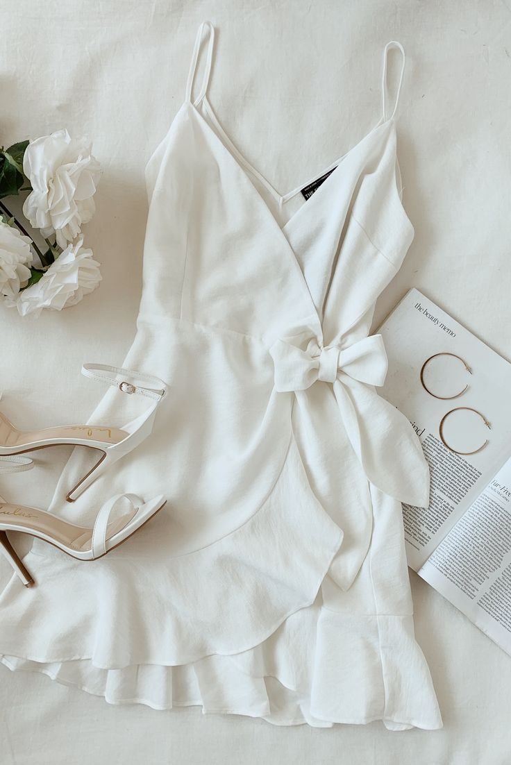 Lulus | Soulmate Ivory Ruffled Wrap Dress | Size Medium | 100% Cotton