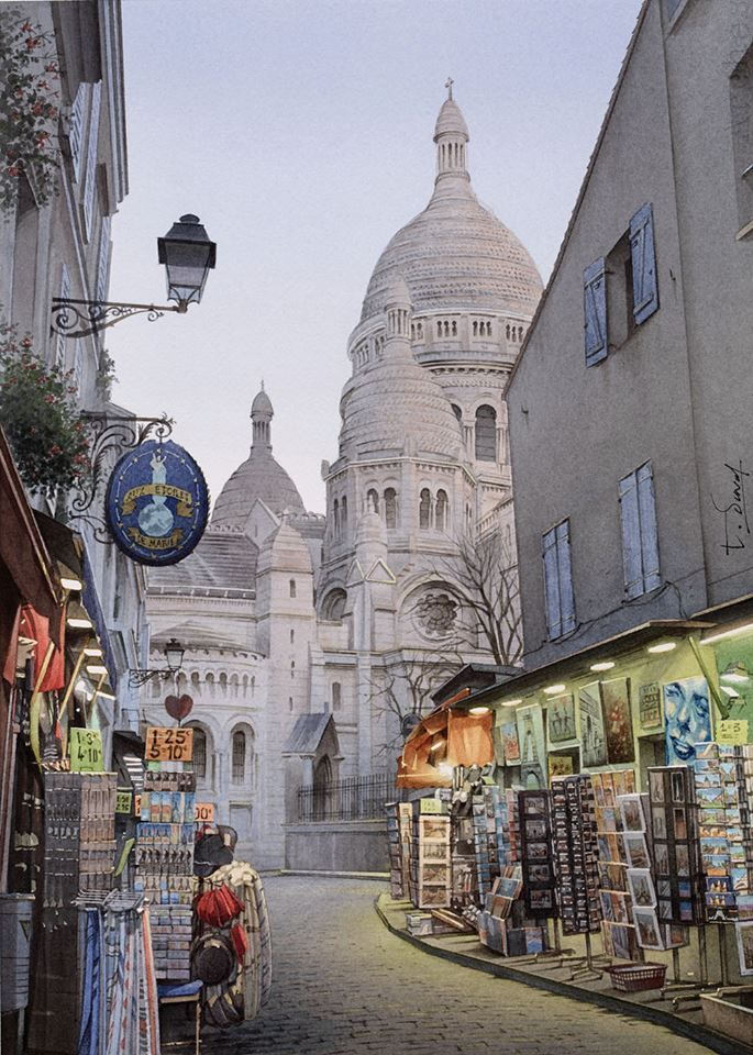 """Thierry Duval """"Les lumières de Montmartre"""". Aquarelle originale - Paris. Format : 27.8 cm x 40 cm."""