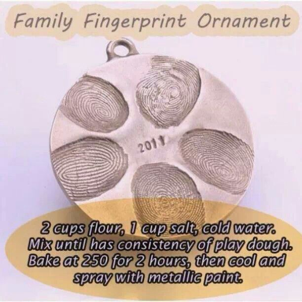 Homemade family ornament. Just think what little baby thumbprints would look like next to mom and dad