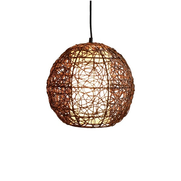 Barbados 1 Light Small Round Pendant in Brown/White