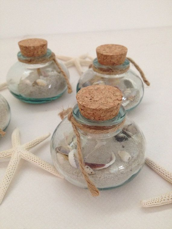Beach Wedding Favor - Glass Jar with Shells, Starfish, Sand Dollar and Florida Sand - Gift - Home Decor - Reception - Keepsake