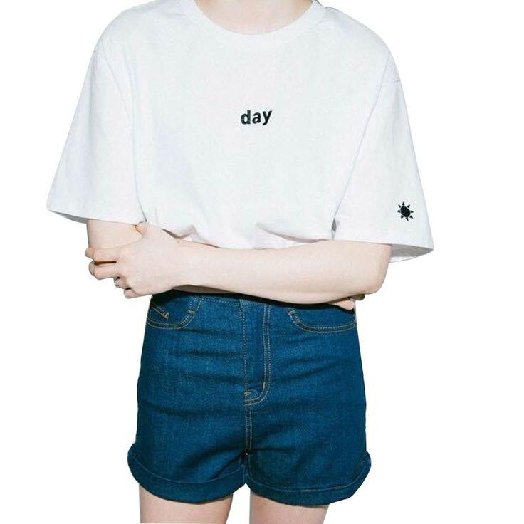 2017夏原宿刺繍手紙ムーンナイトデイ太陽女性tシャツトップtシャツブラック/ホワイト姉妹半袖oネック