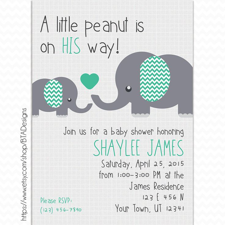 Customizeable Digital Little Peanut Baby Shower Invitation by BTA Designs on Etsy. Elephants Baby Shower, Boy Baby Shower, Teal and Grey Baby Shower, Teal and Gray Baby Shower