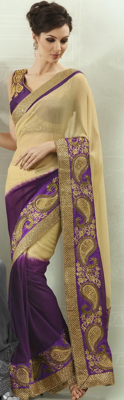 $84.61 Cream and Purple Stone Work Faux Georgette Half Saree 22807