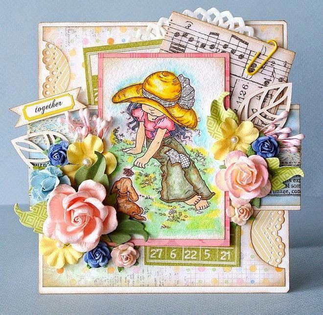 Скрапбукинг открытка бабушке, вечер