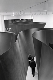 "Richard Serra's ""Sequence"" (2006), ""Torqued Torus Inversion"" (2006), and ""Band"" (2006) during retrospective at the Museum of Modern Art in NYC  