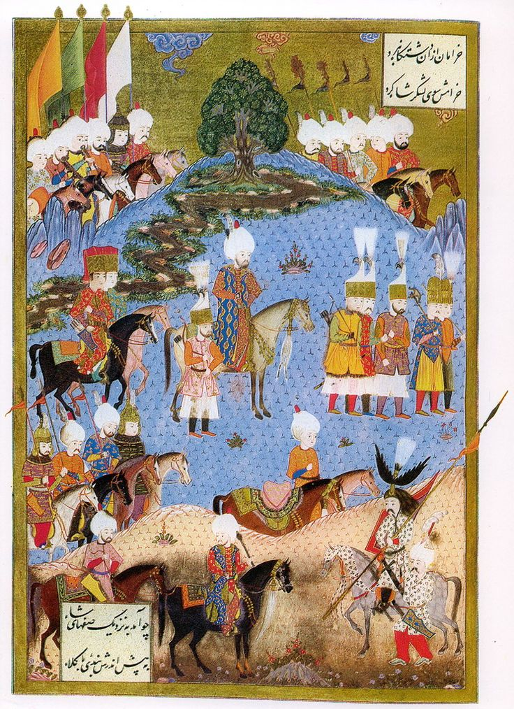 Caliph Suleyman the Law Giver/the Magnificent During the Campaign on Nachivan in the South Caucasus (1554 CE) (Süleymanname (ca. 16th Century CE Ottoman Miniature Painting) -Matrakçı Nasuh)