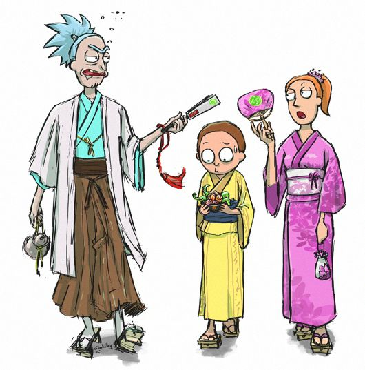 Rick and Morty(and Summer) Rockin' the Japanese Edo period.
