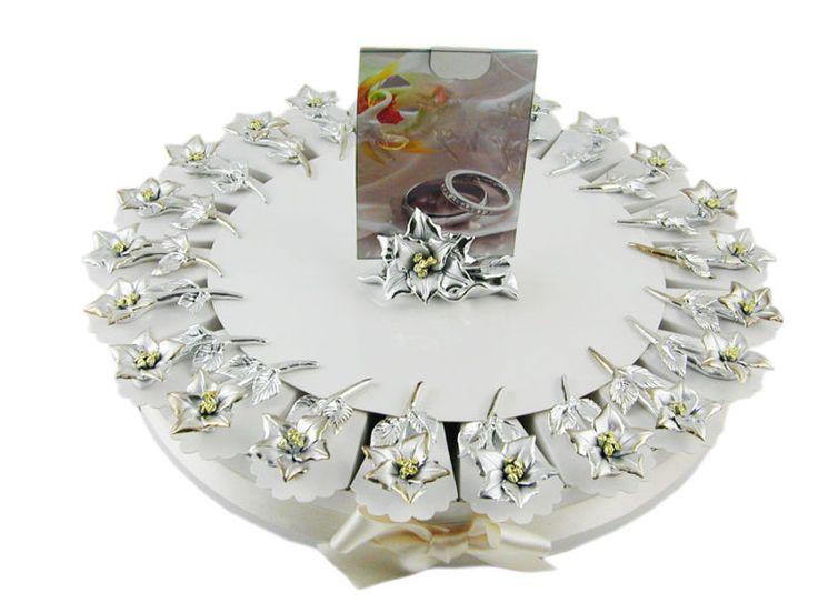 Torta bomboniere 22 fette fiori argentati