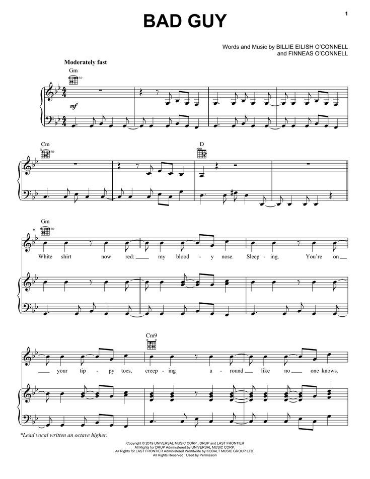 Billie Eilish Bad Guy Sheet Music Piano Notes Guitar Chords And