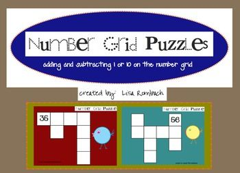 Number Grid Puzzles Add Subtract 1 or 10 SmartBoard Lesson (.notebook file) $