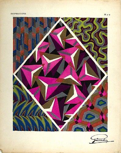 GARCELON, A. Inspirations Pl. no.8. Original pochoir print for Inspirations, published by Charles Massin #Paris #1920 #print #textiles #pattern #colour #design