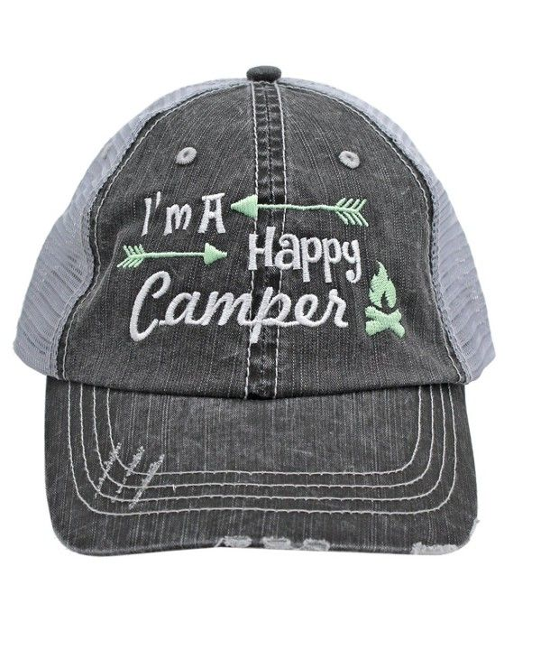 256e309c26fd0 Light Green I m am A Happy Camper Women Embroidered Trucker Style Cap Hat  Rocks any Outfit CY1820OCYKA in 2019