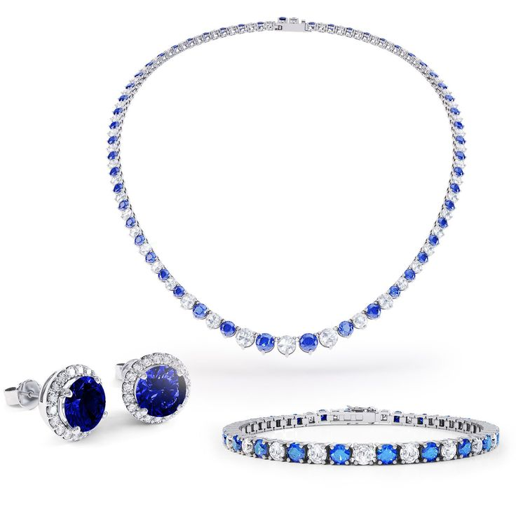 Eternity Blue and White Sapphire Platinum plated Silver Jewellery Set with Necklace