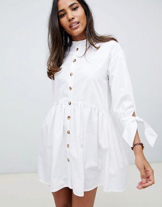 ace69b3b526 ASOS DESIGN grandad collar button through mini smock dress with tie sleeve
