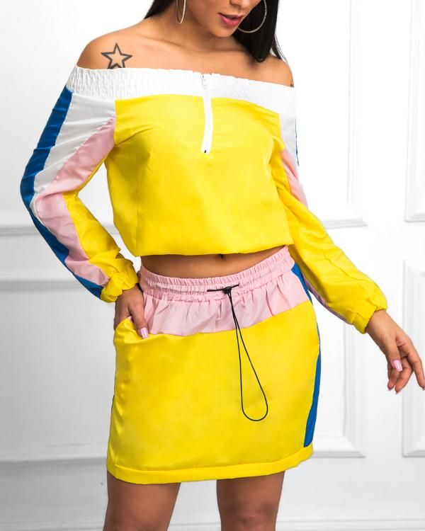 Best Black Friday Clothing Deals 2020 Contrast Color Off Shoulder Top With Skirt Sets in 2019