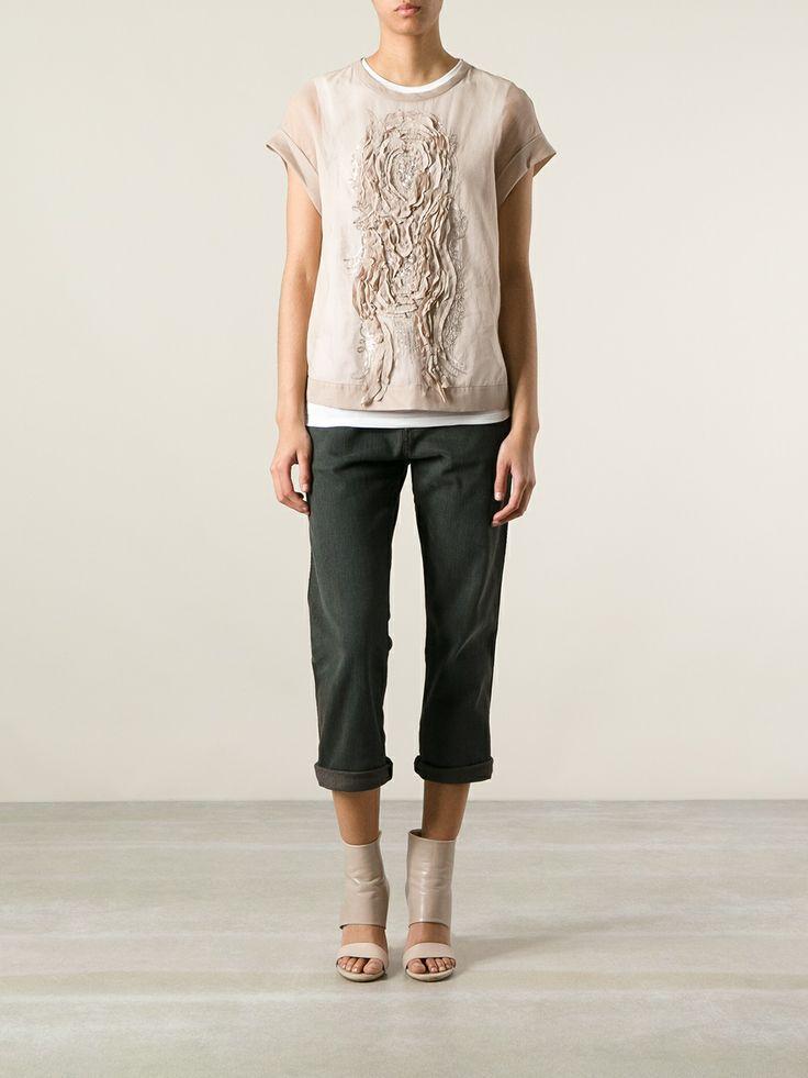 Brunello Cucinelli Embellished Pattern T-shirt - Mazzoni - Farfetch.com