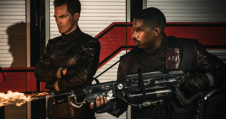 Fahrenheit 451 First Look Teams Michael B. Jordan & Michael Shannon -- Get your first look at Michael B. Jordan and Michael Shannon in HBO's new TV movie adaptation of the classic Ray Bradbury novel Fahrenheit 451. -- http://movieweb.com/fahrenheit-451-remake-photo-hbo-michael-b-jordan-michael-shannon/