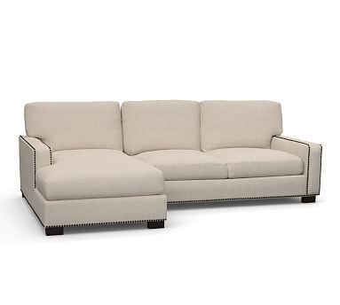 Turner Square Arm Upholstered Left Arm Sofa With Chaise Sectional With  Bronze Nailheads, Down Blend Wrapped Cushions, Sunbrella(R) Performance  Sahara Weave ...