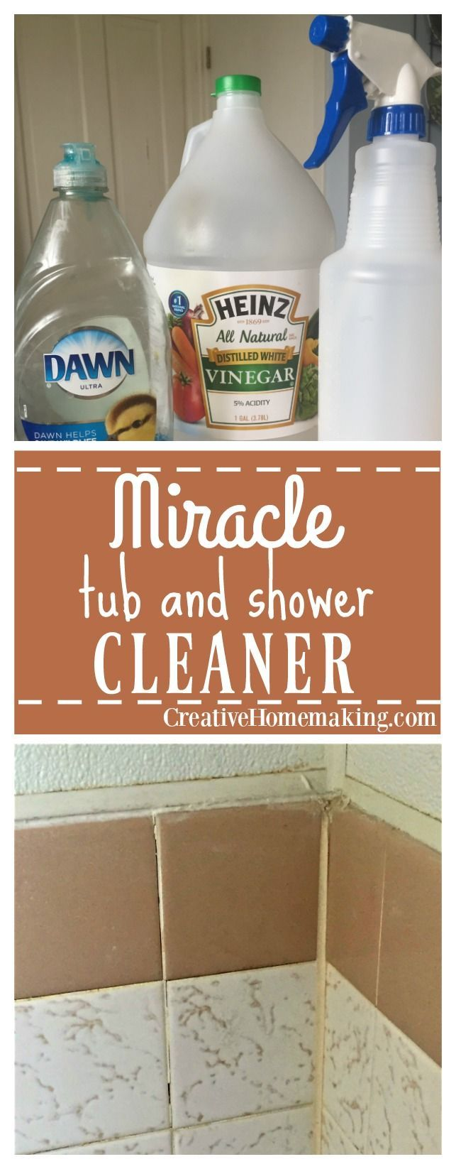 This miracle shower and bathtub cleaner is made from two simple ingredients: white vinegar and Blue Dawn dishwashing liquid. It does a great job on bathroom faucets and soap scum on shower doors!