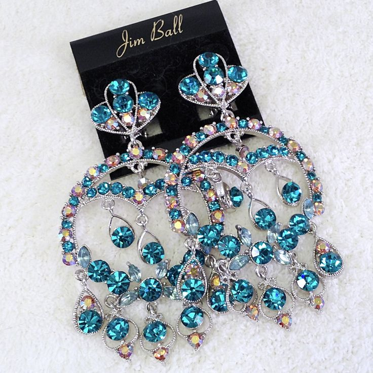 105 best complete the look green rhinestone crystal jewelry dramatic large swarovski teal chandelier clip earrings aloadofball Gallery