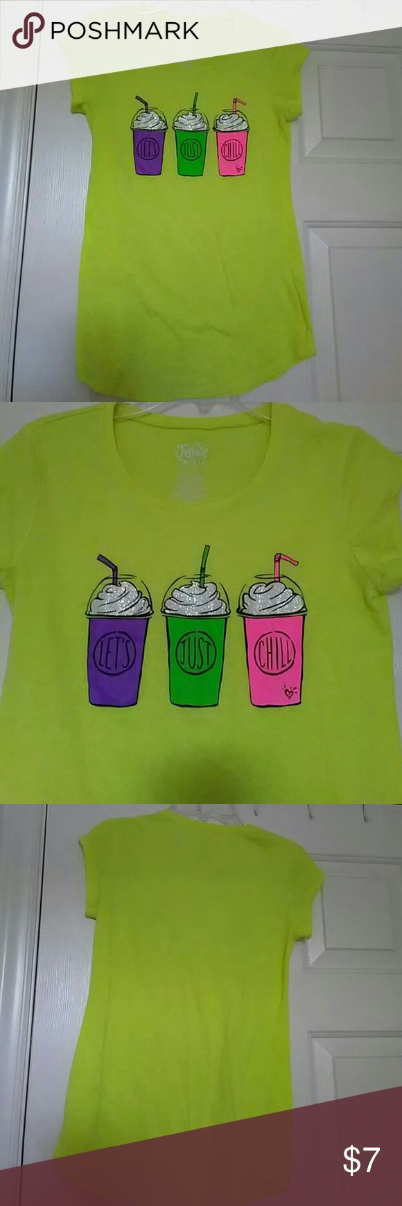 Justice t-shirt Lets Just Chill Neon Yellow 12 This is an adorable Justice shirt in a size 12. Is neon yellow with milkshakes on the front and neon purple green and pink. It is gently used in excellent condition. The top is 60% cotton 40% polyester. The material is thin. It comes from a pet and smoke-free environment. Handled with ❤. Thank you for looking Justice Shirts & Tops Tees - Short Sleeve