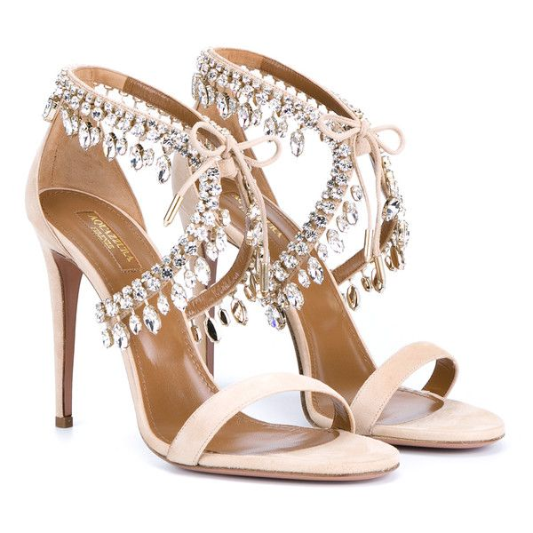 Aquazzura Milla Jewelled Sandals found on Polyvore featuring shoes, sandals, heels, almond, sexy shoes, aquazzura, evening sandals, aquazzura shoes and sexy heels shoes