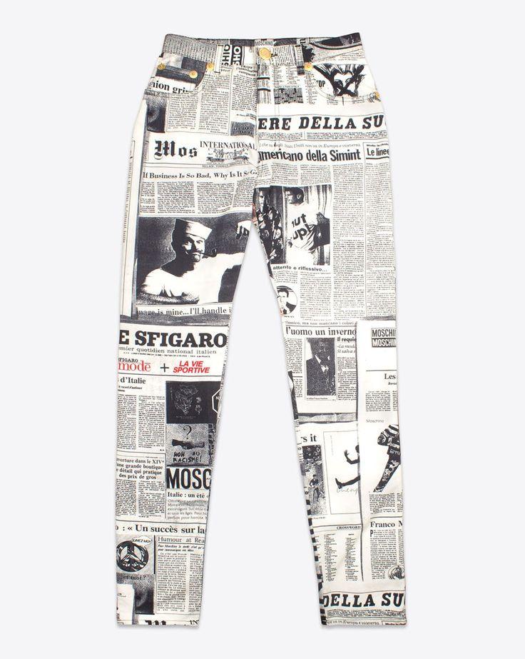 90s Moschino Vintage Women's Newspaper Print Jeans