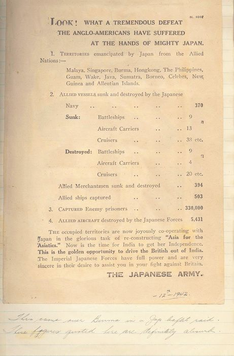 """An example of a propaganda leaflet dropped by the Japanese over India. This one was preserved in a scrapbook belonging to Jim Ashworth of British Columbia, who was flying a Hurricane over occupied Burma. You can see his handwriting at the bottom, which refers to the Japanese claims as """"absurd."""""""