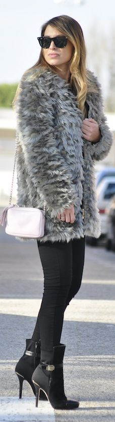 Grey Fur Coat by Necklace Of Pearls