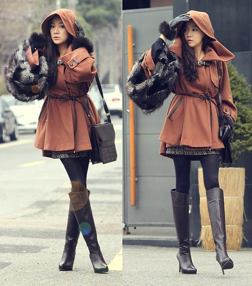 Brown Cape Coat, Dark Brown Shoulder Bag, Dark Brown Leather Long Boots, Fur Neck Warmer