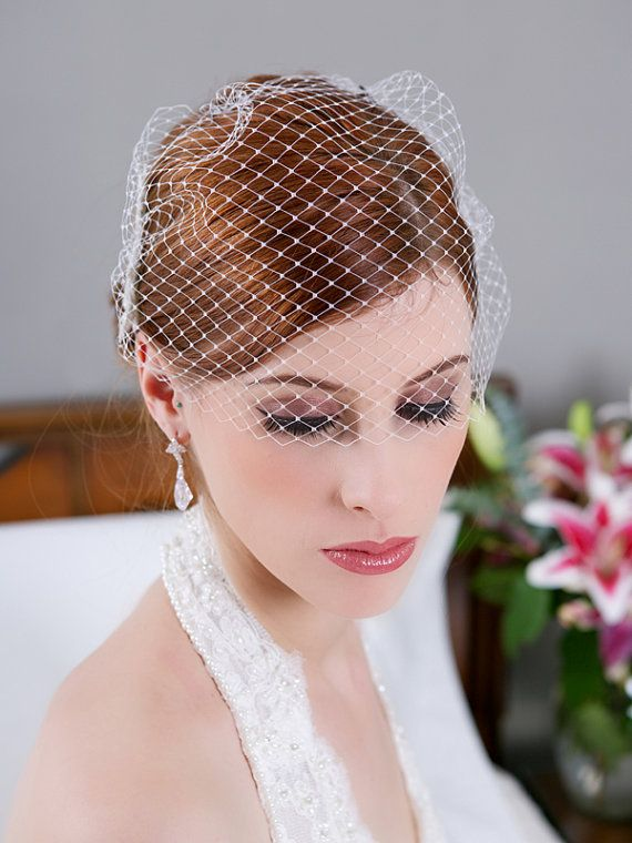 Birdcage Veil Simple Cage Veil Ivory White Bridal by GildedShadows, $23.95
