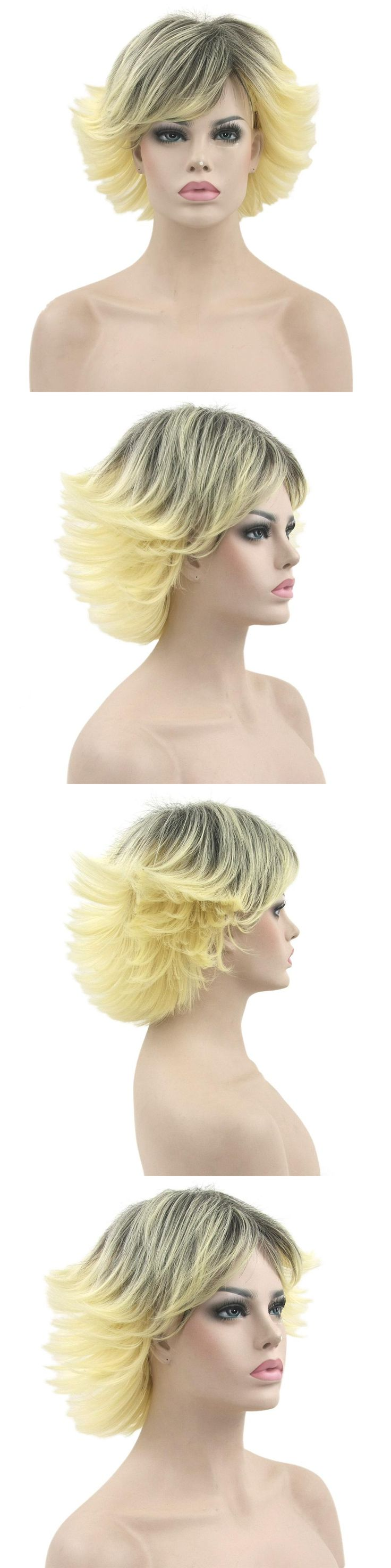 Soloowigs Kinky Straight Black Blonde Ombre Synthetic Hair Woman Wigs Short Full Lace Hairpieces Puffy hair Style