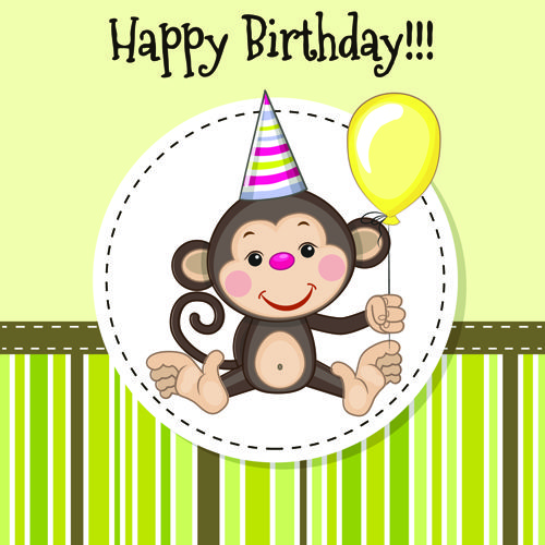 Happy birthday baby greeting cards vector 08