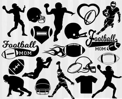 Football SVG files for Silhouette Cameo, Cricut Explore and SCAL! Football helmet svg, football mom svg, football silhouettes and clipart.