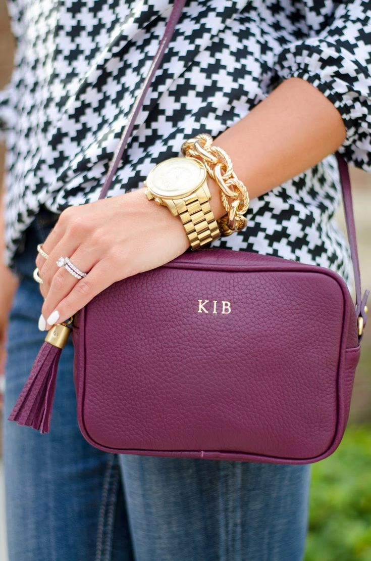 Madison Crossbody Wine Pebble Grain Leather $225 // GiGi New York