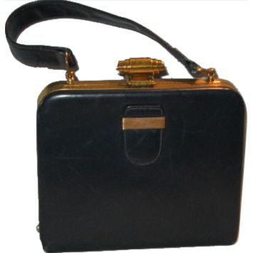VINTAGE EVANS Leather Elegance Dark BLUE Kelly Style Handbag w Mirror in Sleeve, Changed Coin purse and comb