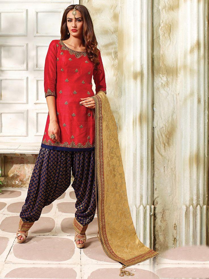 Red Silk Designer Punjabi Suit