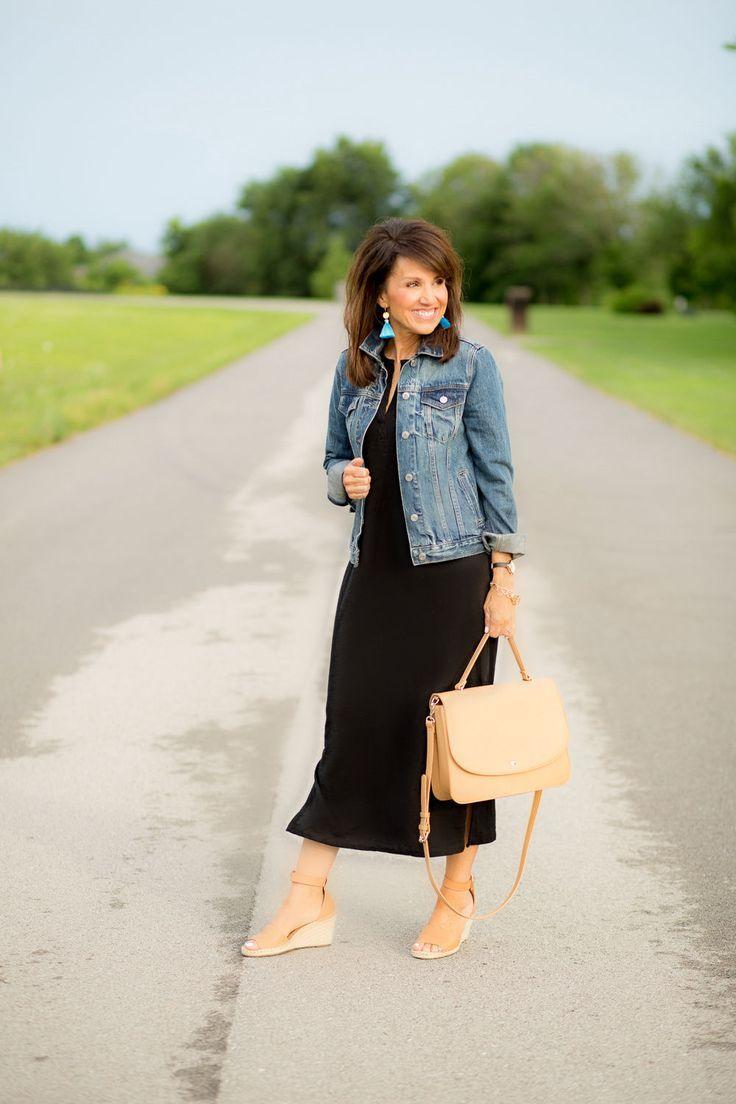 Black Maxi Dress And Denim Jacket Black Women Fashion Black Maxi Dress Black Maxi Dress Outfit [ 1104 x 736 Pixel ]