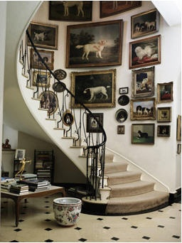 Brooke Astor; staircase at Holly Hill, with dog portraits.