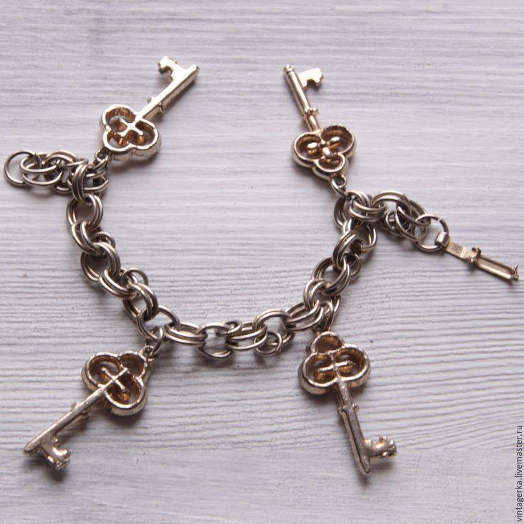 Купить Браслет винтажный Ключи - серебряный, ключи, ключик, ключики, браслет с ключами, браслет винтаж