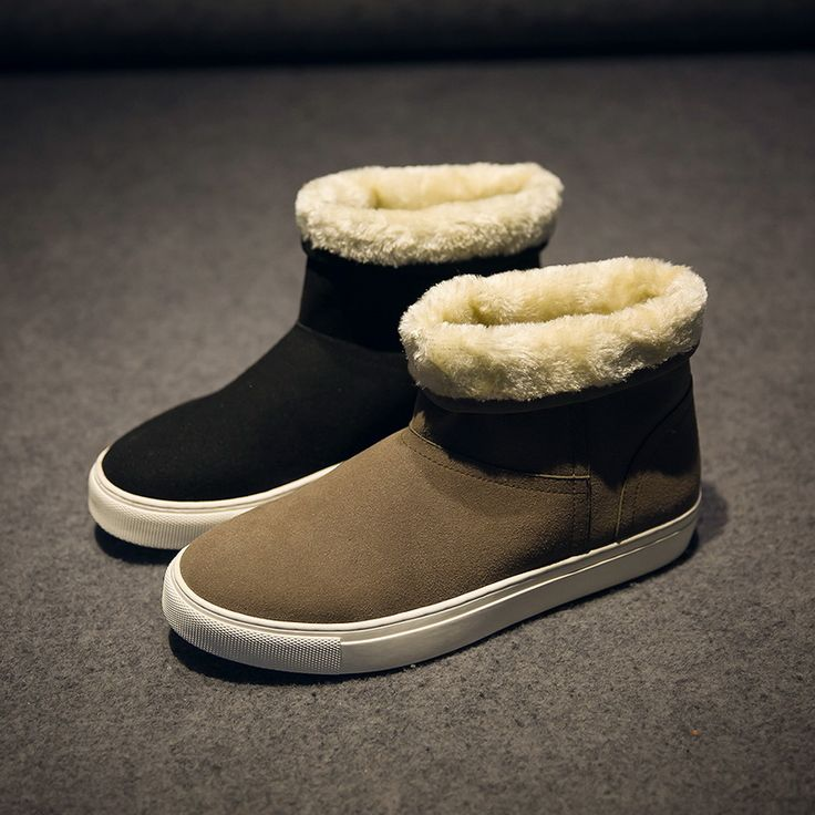 2017 New Arrival Hot Sale Shoes Men Boots Solid Slip-On Soft men Snow Boots Round Toe Flat with Winter Fur Ankle Boots