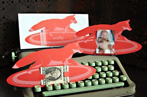 Crafty Fox die-cut letterpress card, by blackbird letterpress. Idea for photo shoot/backdrop: Letterpresses Cards, Photos Holders, Foxes Cards, Crafty Foxes, Blackbird Letterpresses, Cards Holders, Card Holders, Crafts Foxes, Animal Cards