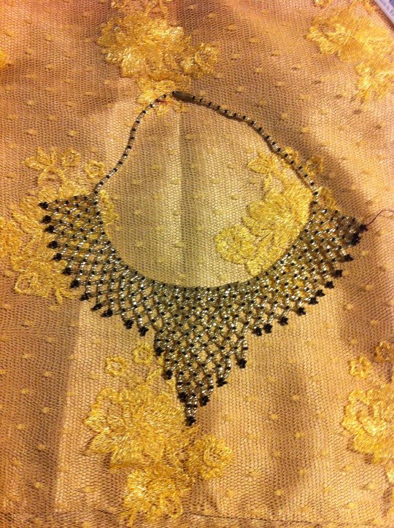 Holiday Sale vintage Bib Chocker today only Gatsby seed bead